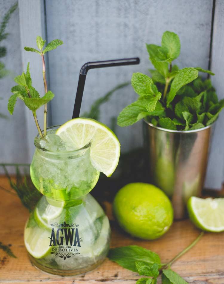 AGWA de Bolivia coca leave alcohol mojito
